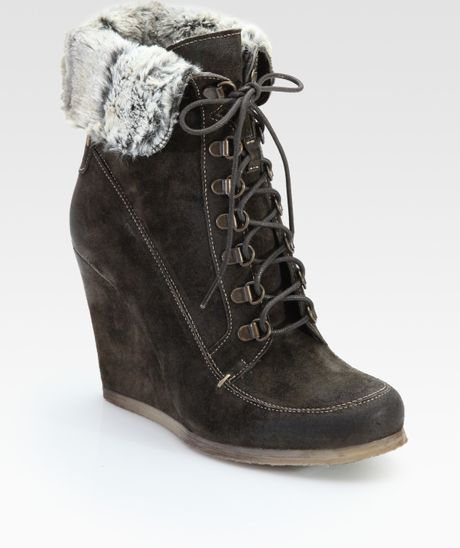 boutique 9 destin suede wedge ankle boots in gray grey