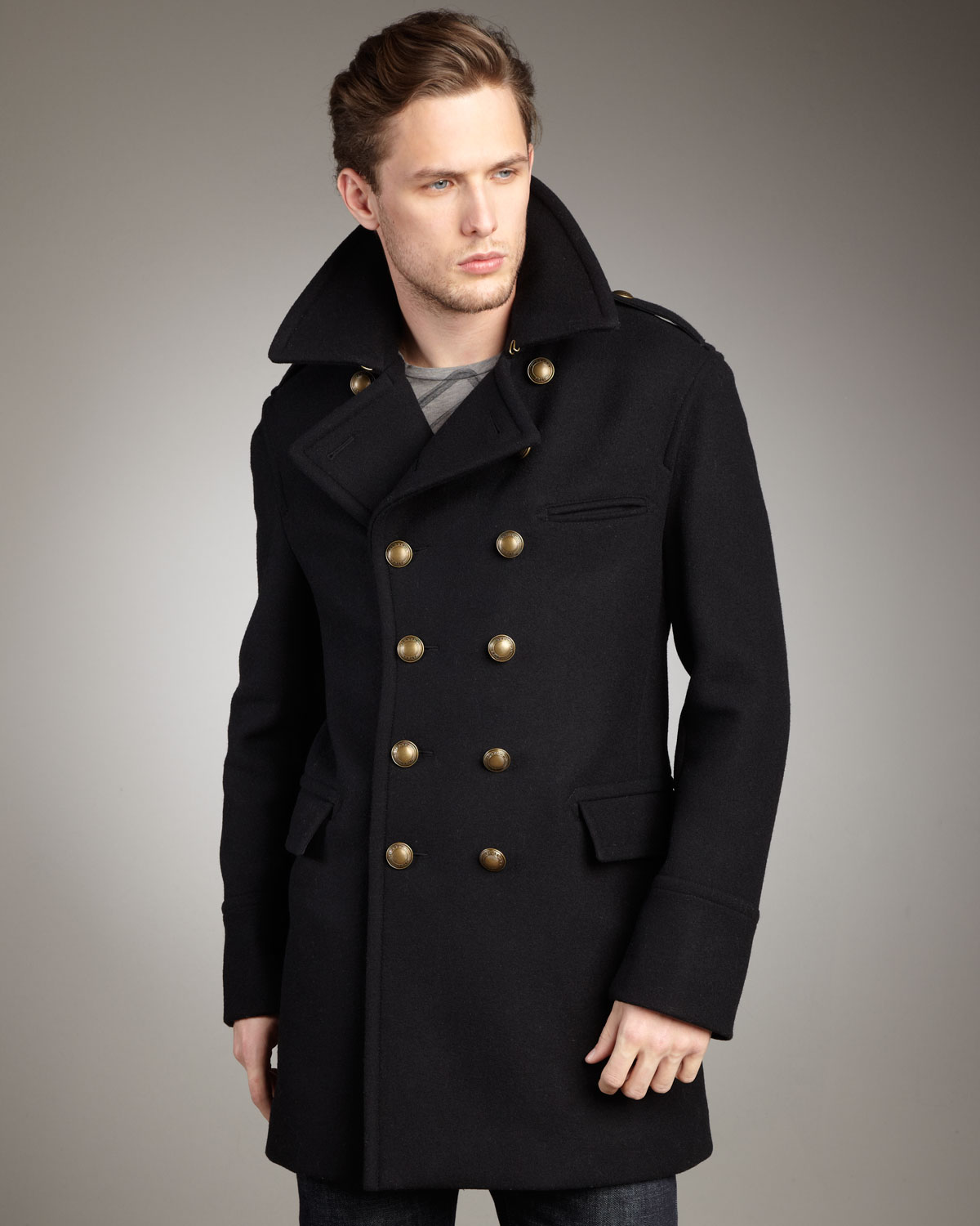 Burberry brit Dome-button Peacoat in Black for Men | Lyst