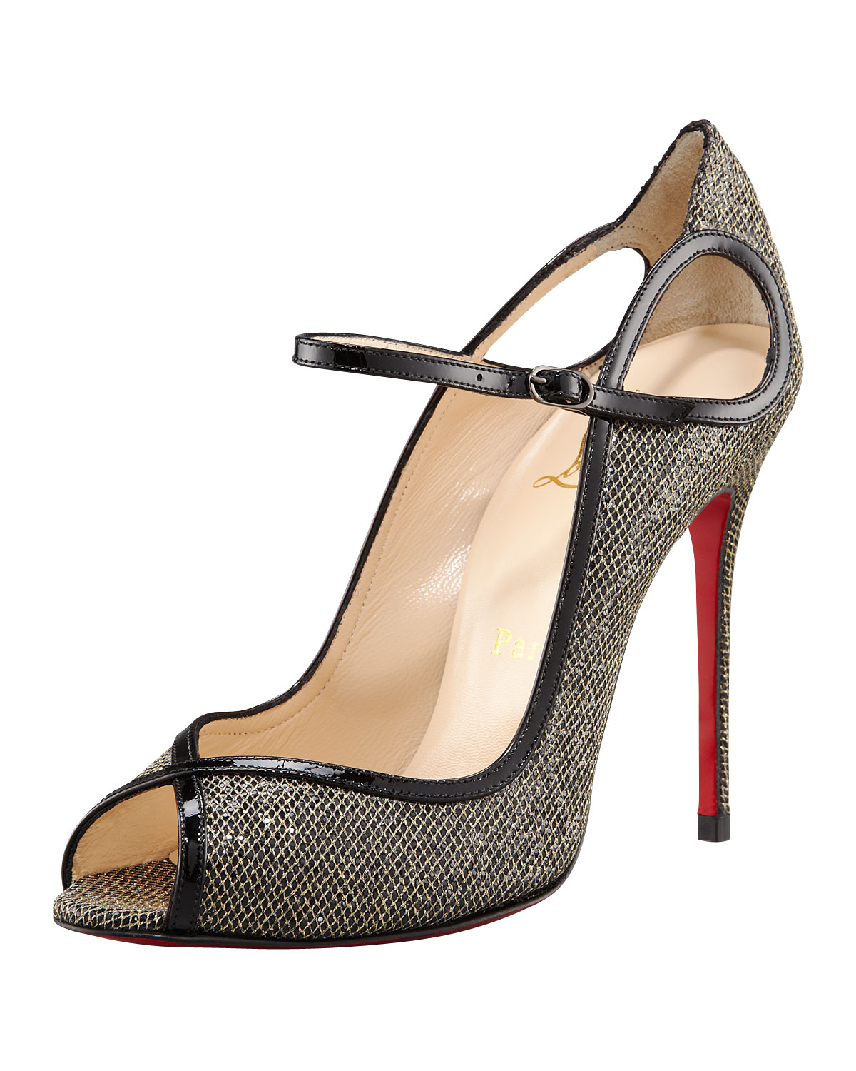 ... christian louboutin bikee bike 100mm leather sandals gold; gallery ...