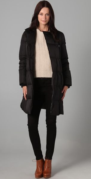 DKNY Double Breasted Puffer Coat - Lyst