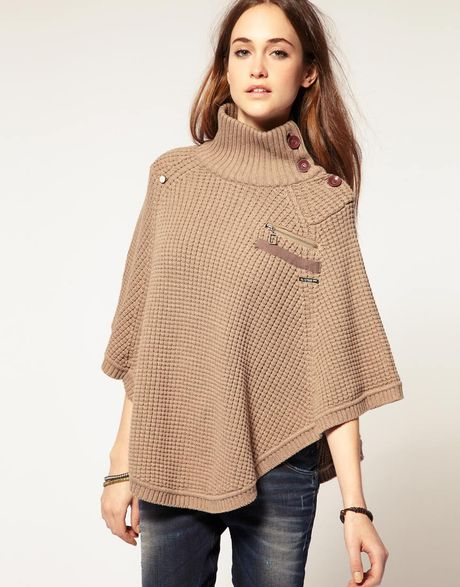 Knitting Pattern Side Button Poncho : G-star Raw G Star Side Button Knitted Cape in Purple ...