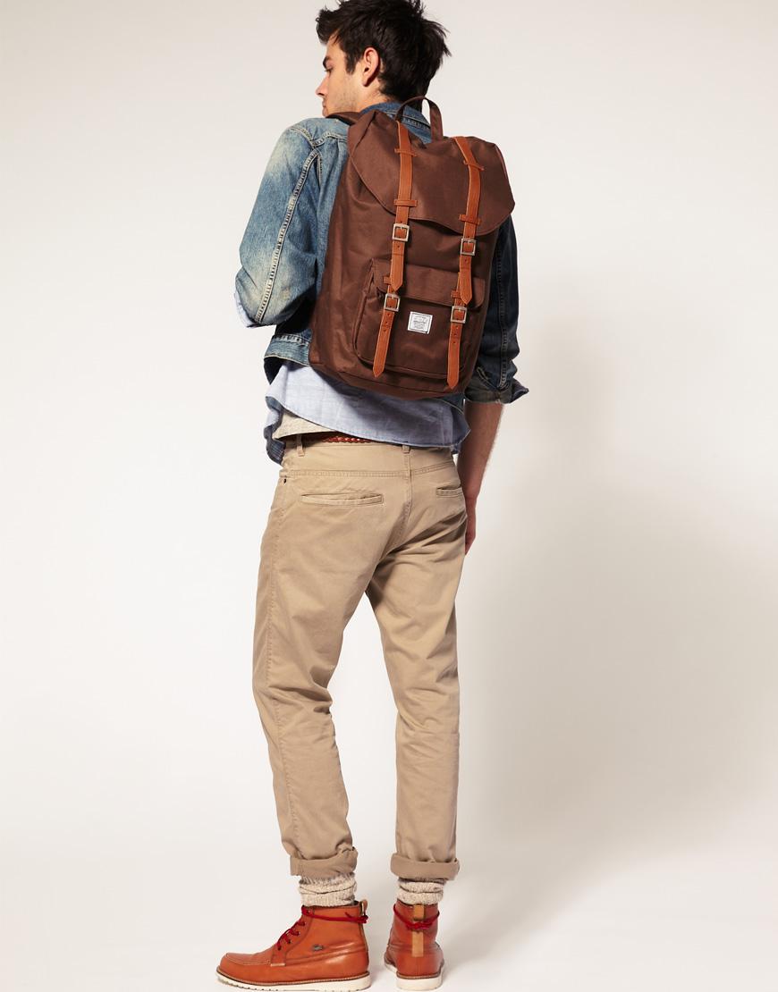 herschel supply co herschel little america backpack in brown for men lyst. Black Bedroom Furniture Sets. Home Design Ideas