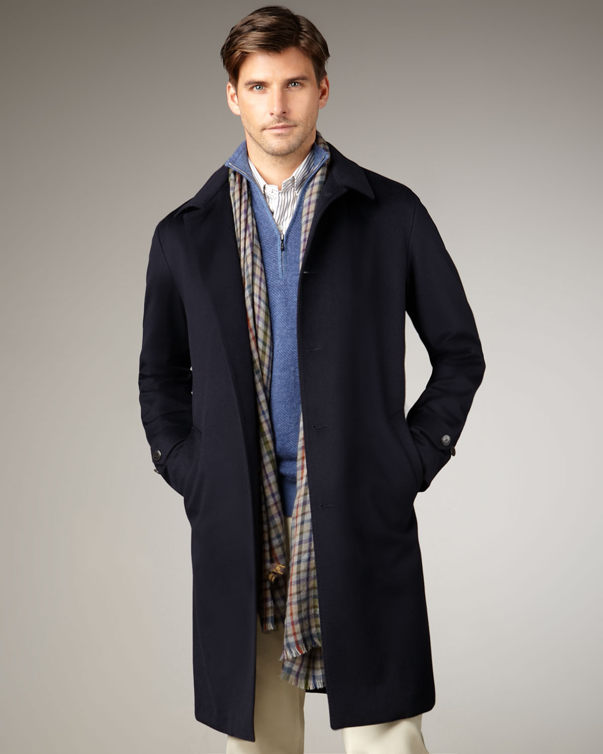 Loro piana Storm Longlined Cashmere Coat in Blue for Men | Lyst