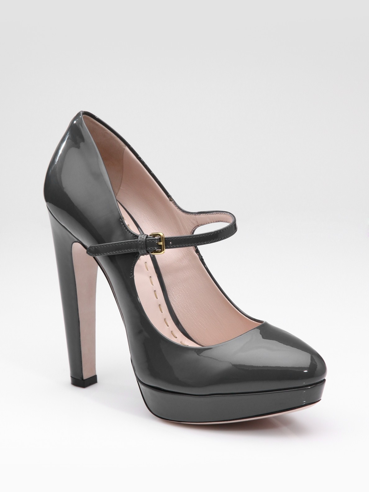 miu miu patent mary jane pumps in gray grey lyst. Black Bedroom Furniture Sets. Home Design Ideas