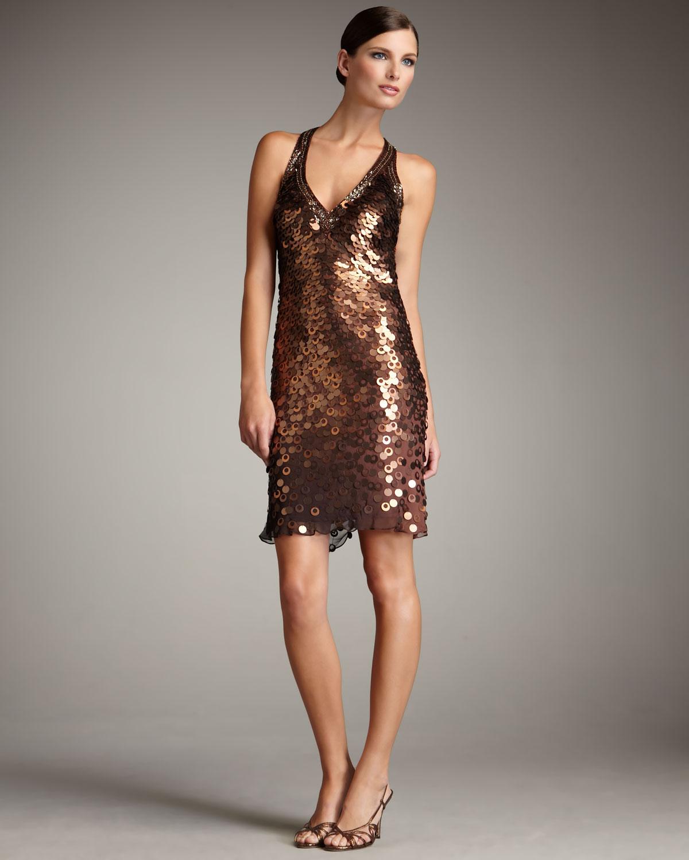 Lyst - Sue Wong Metallic Paillette Dress in Brown