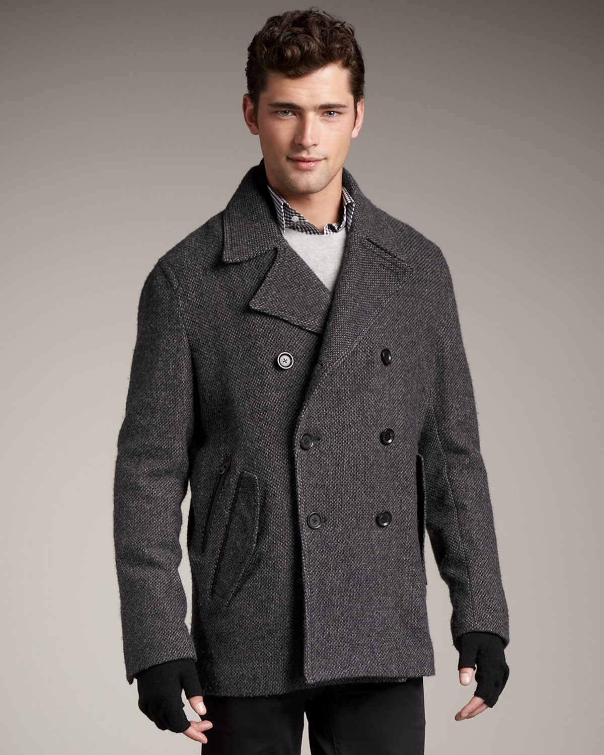 Theory Wool Pea Coat in Gray for Men | Lyst