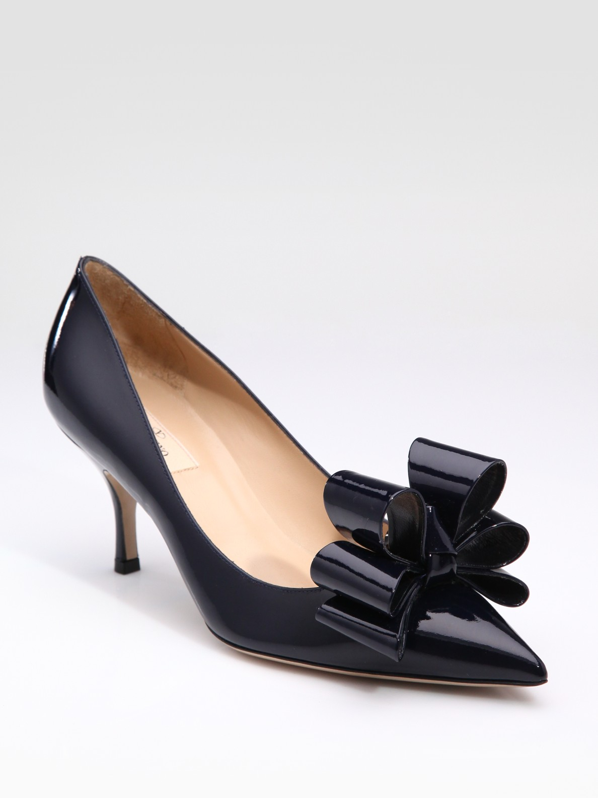 Valentino Versailles Patent Leather Bow Pumps In Blue