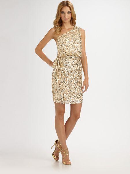 Aidan Mattox Gold Sequin Dress Aidan Mattox Sequined Dress in