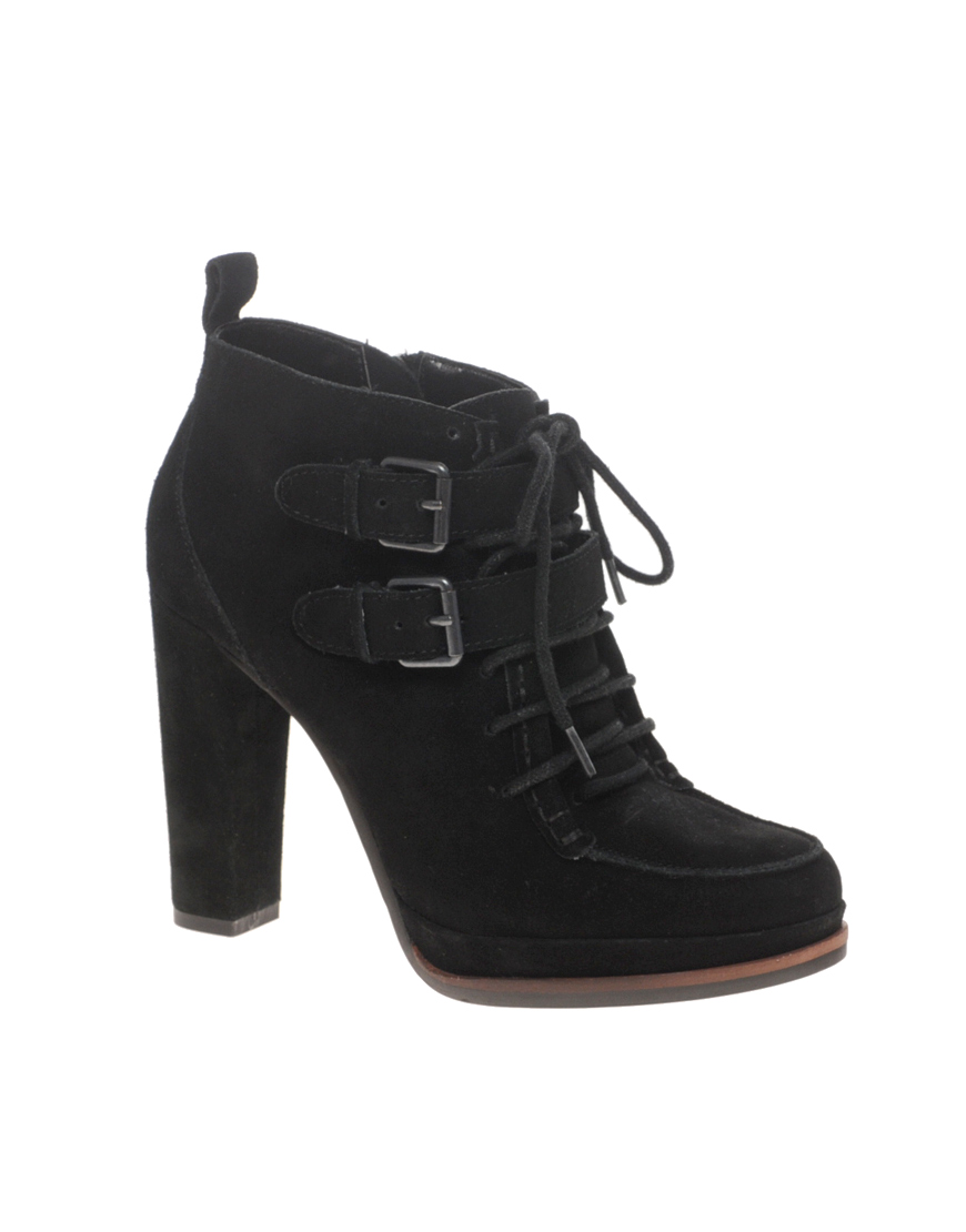 dv by dolce vita whatt lace up heeled ankle boots in black