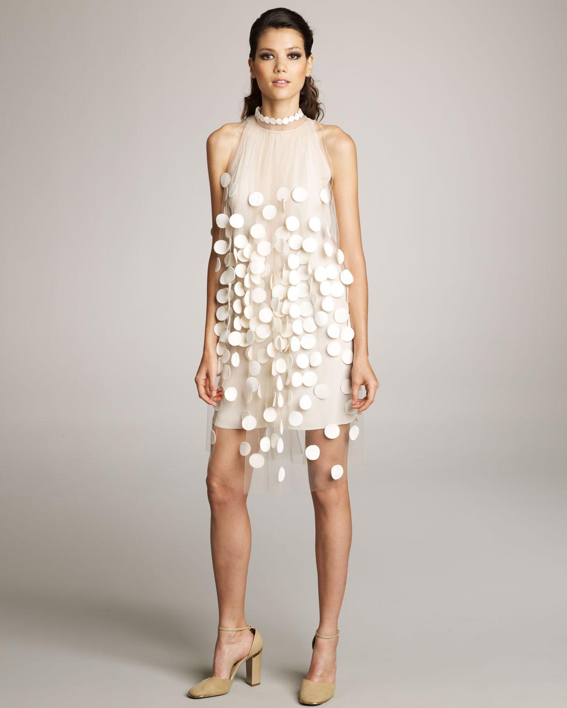 Lyst Stella Mccartney Paillette Overlay Dress In White
