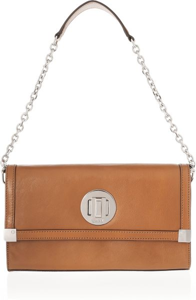 Dkny Leather Shoulder Bag in Brown (tan)