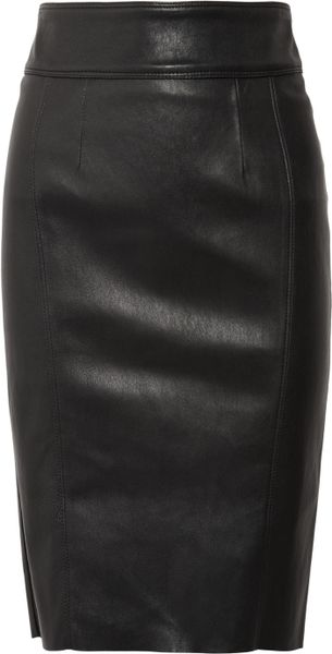 Burberry Stretch-leather Pencil Skirt in Black