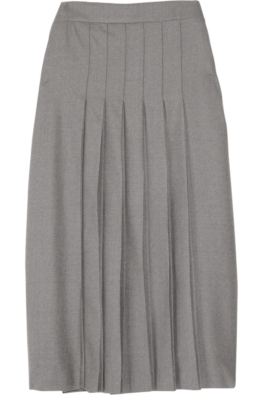 Chlo 233 Pleated Wool Flannel Skirt In Gray Lyst