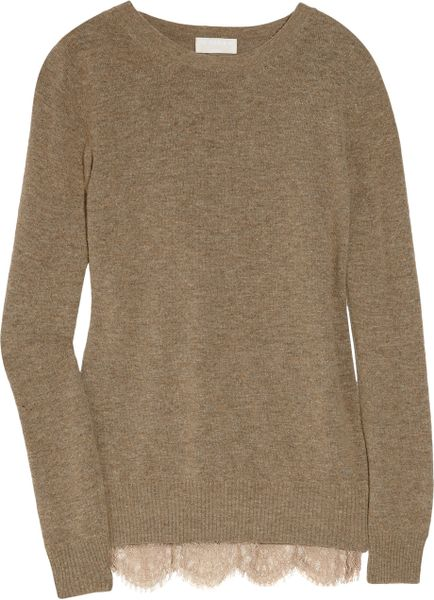 Clu Lace-trimmed Wool-blend Sweater in Khaki (brown)