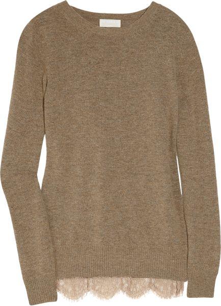 Clu Lace-trimmed Wool-blend Sweater in Khaki (brown)