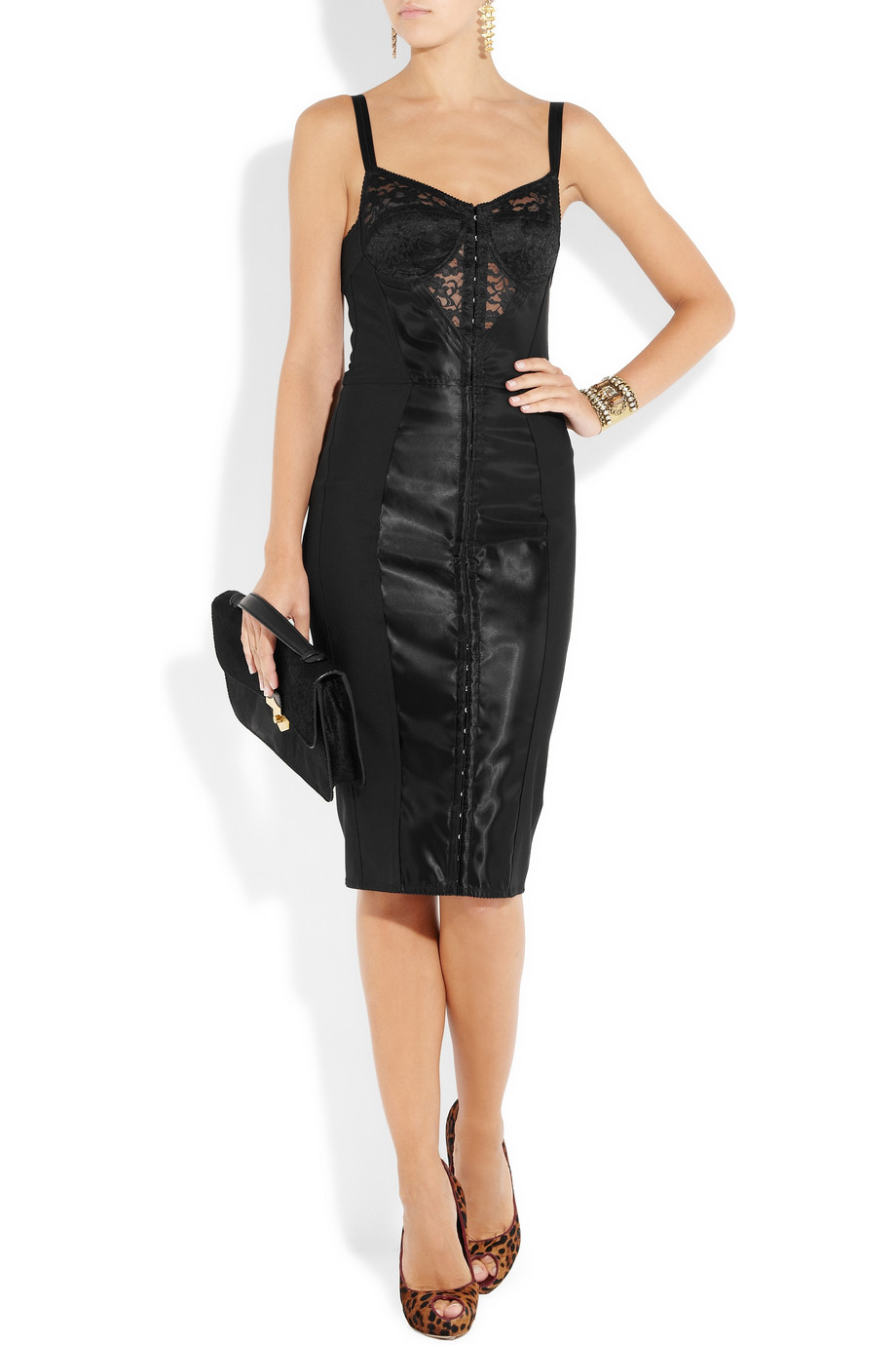 Dolce Amp Gabbana Lace And Satin Bustier Dress In Black Lyst
