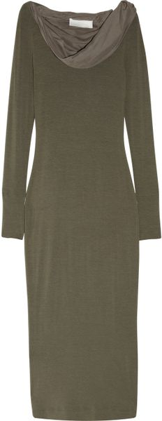 Donna Karan New York Double-layered Jersey and Chiffon Dress in Green (moss)