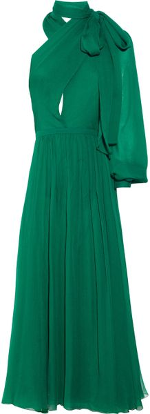 Gucci Silk-voile Asymmetric Dress in Green (emerald)