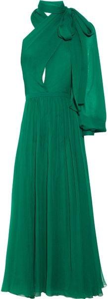 Gucci Silk-voile Asymmetric Dress in Green (emerald)