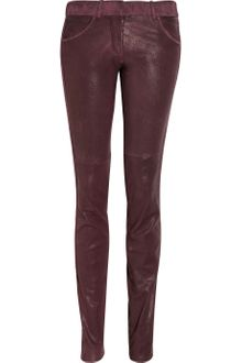 Isabel Marant Poe Suede-trimmed Stretch-leather Skinny Pants - Lyst
