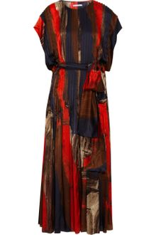 Oscar de la Renta Brushstroke-print Silk-satin Dress - Lyst