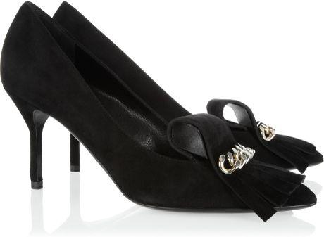 Saint Laurent Opyum Embellished Suede Pumps in Black