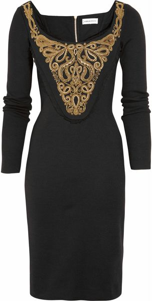 Emilio Pucci Milano Embroidered Stretch-wool Dress - Lyst