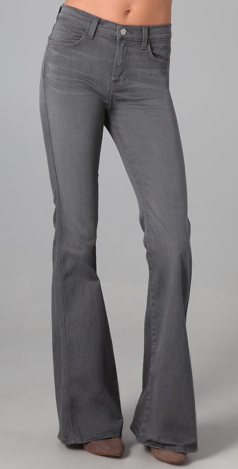 J brand High Rise Flare Jeans in Gray | Lyst