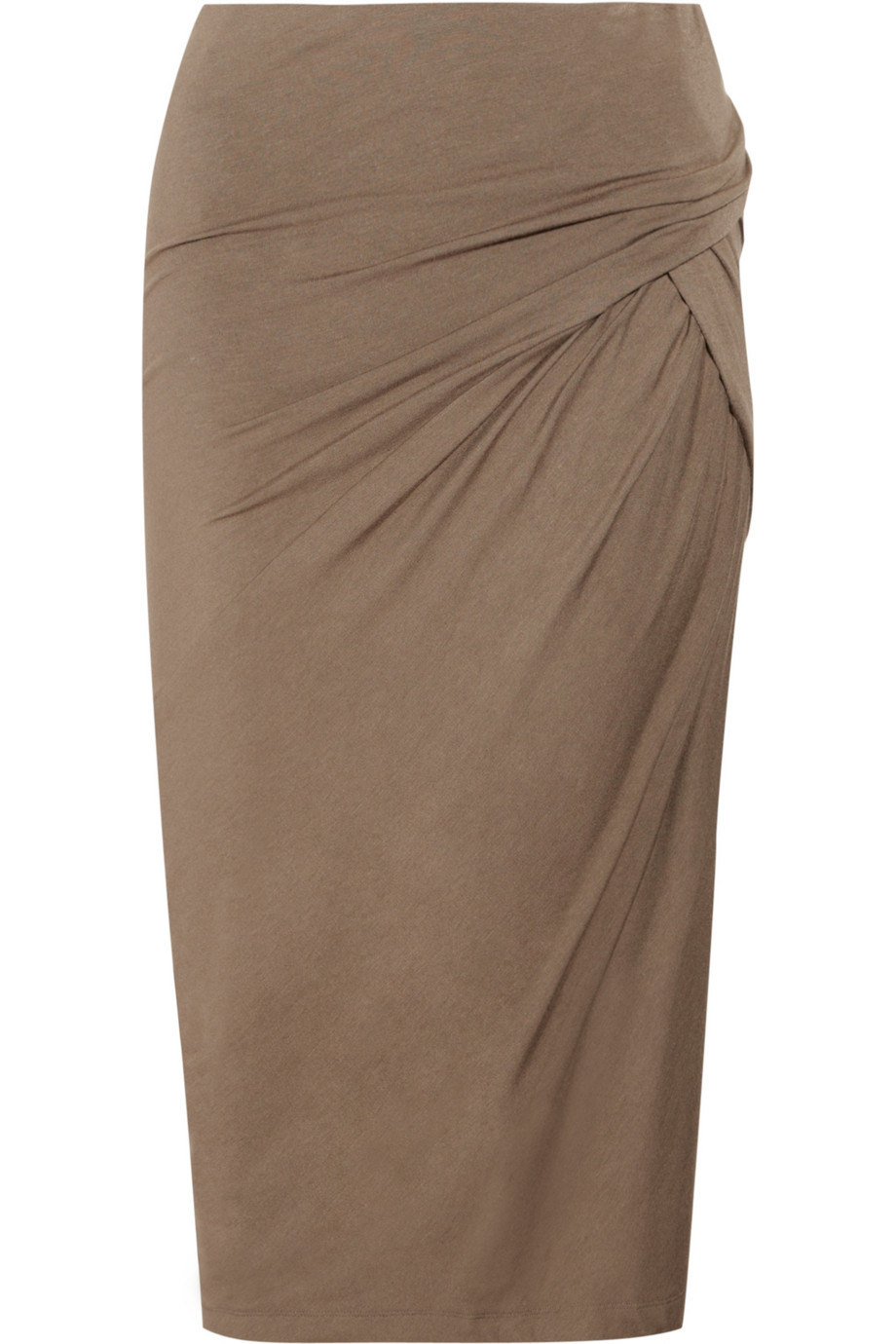 donna karan stretch jersey pencil skirt in brown lyst