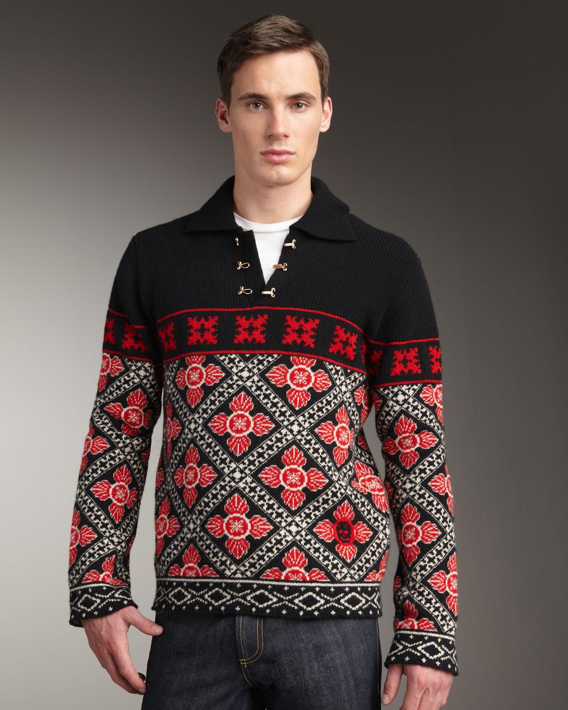 Alexander mcqueen Fair Isle Sweater in Black for Men | Lyst