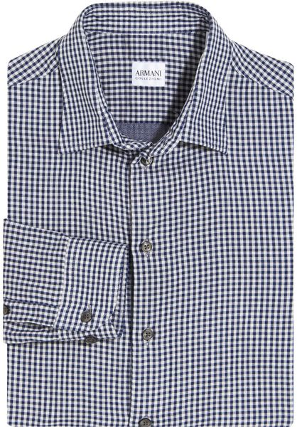 Armani Mini Gingham Dress Shirt In Blue For Men Navy Lyst