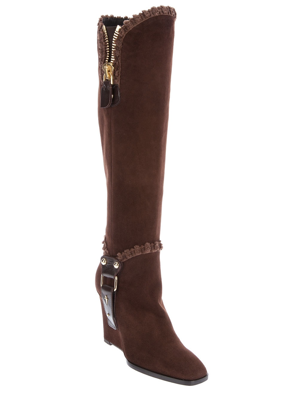 cesare paciotti wedge knee high boot in brown lyst