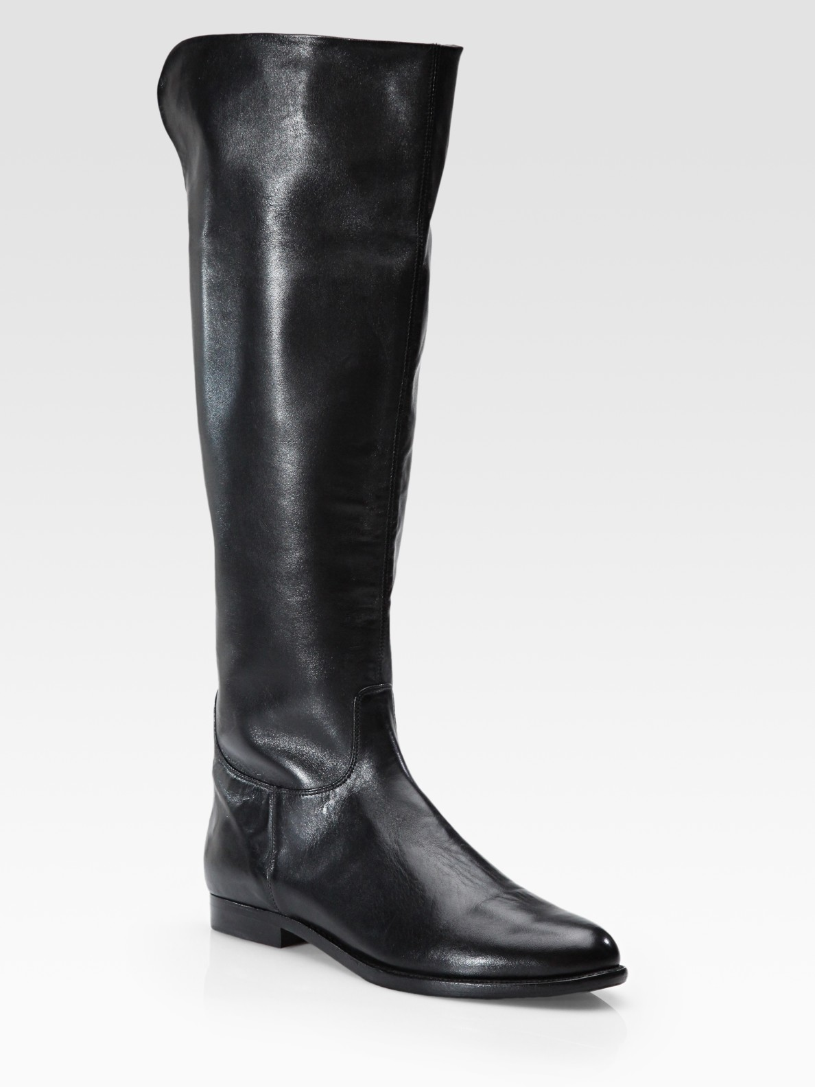 elie tahari flannery flat leather knee high boots in black