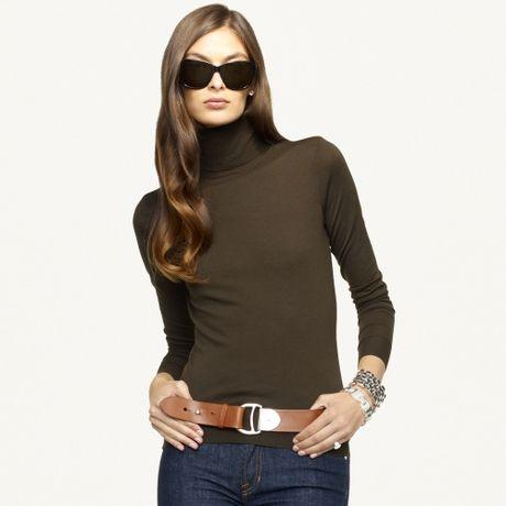 Ralph Lauren Black Label Merino Turtleneck Sweater in Green (loden)
