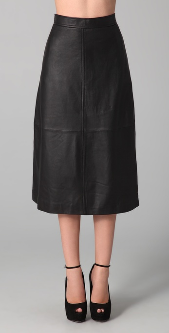 Black leather skirt a line – Cool novelties of fashion 2017 photo blog