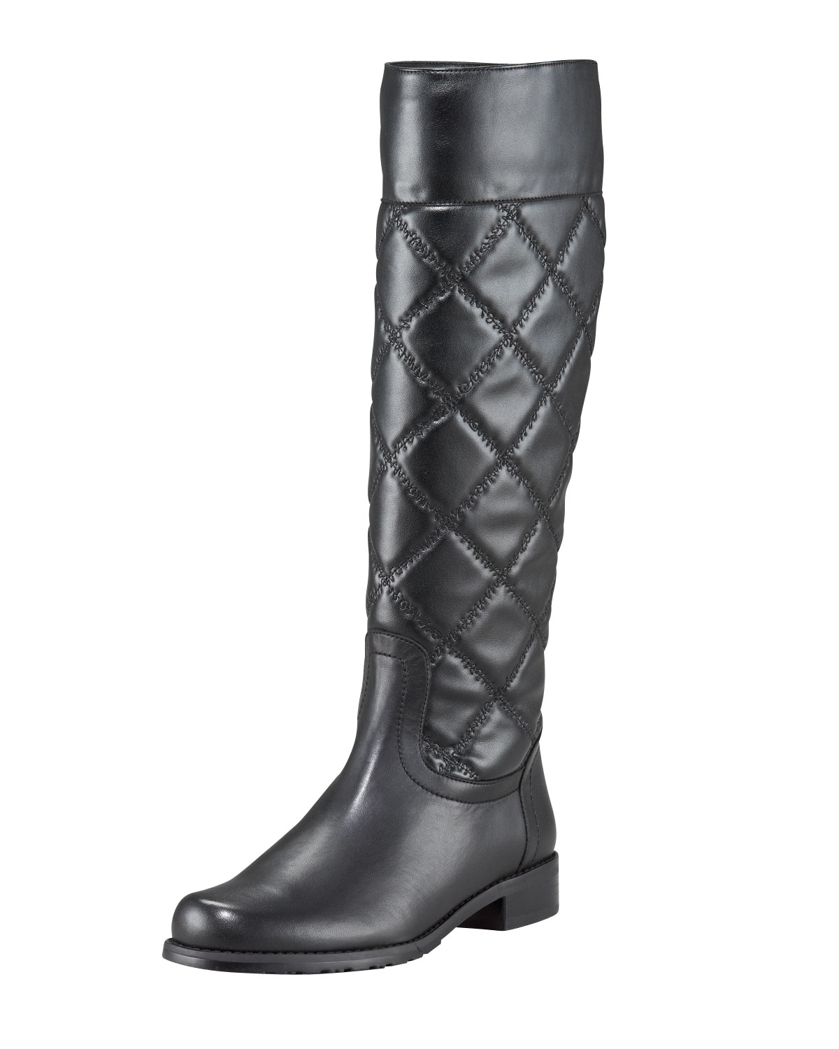 stuart weitzman quilted leather knee boot in black lyst