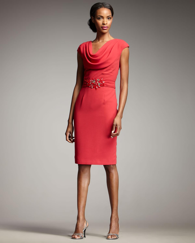 Cowl Dress: Badgley Mischka Cowl-neck Beaded-waist Dress In Red