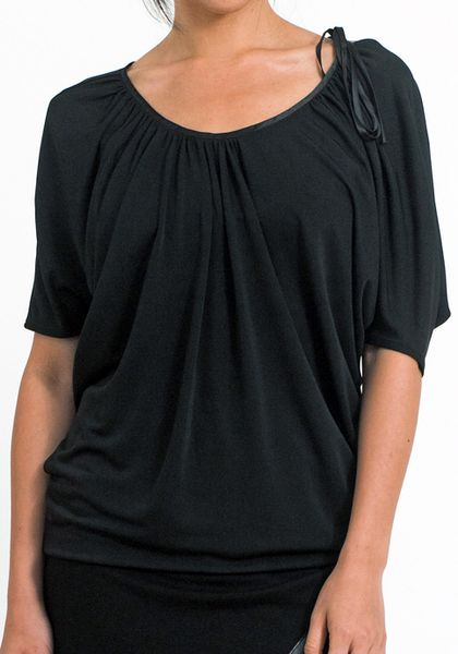 Doo. Ri Shoulder Drape Top in Black