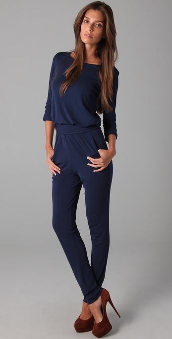 Halston Long Sleeve Jumpsuit in Blue | Lyst