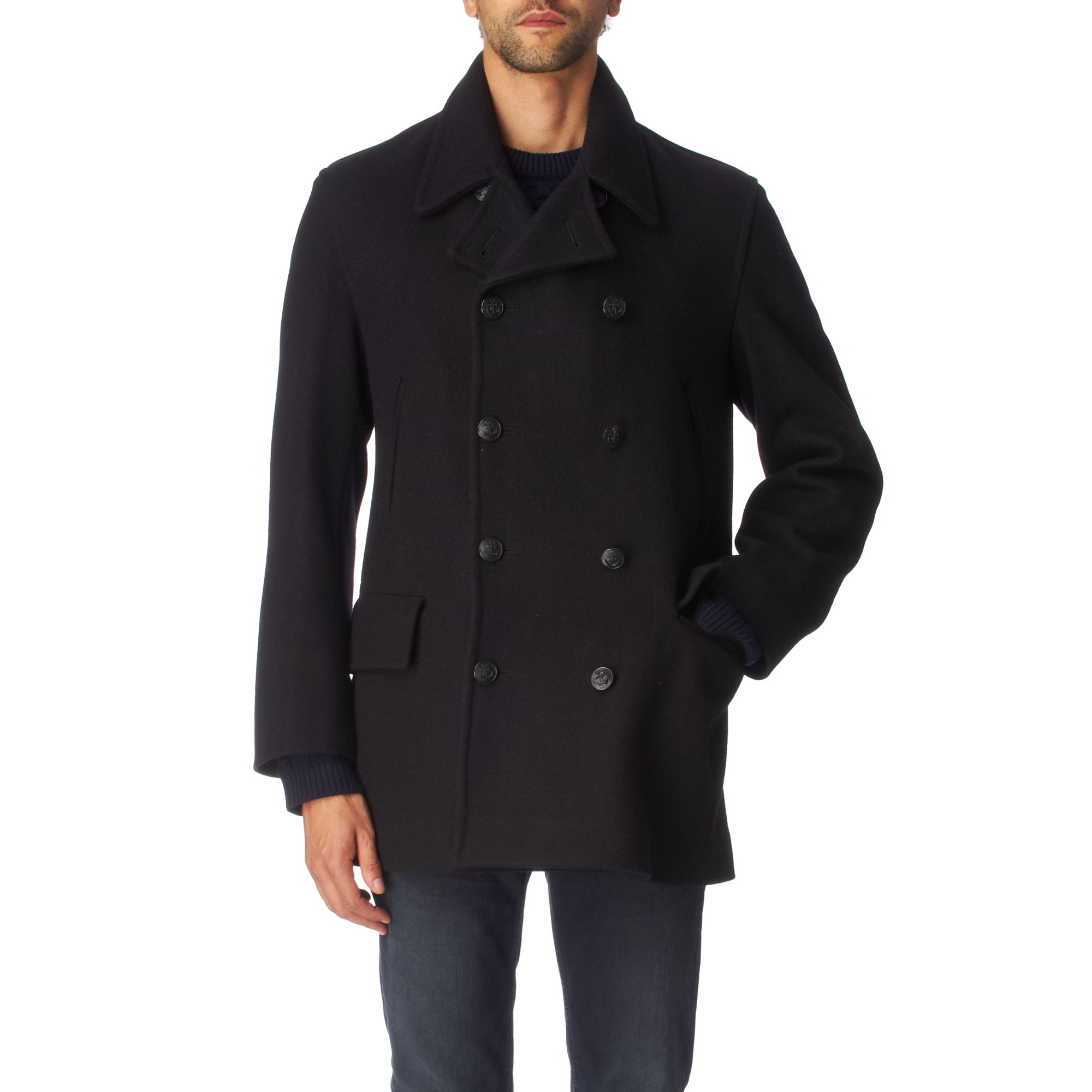Gloverall Traditional British Naval Reefer Coat in Blue ...