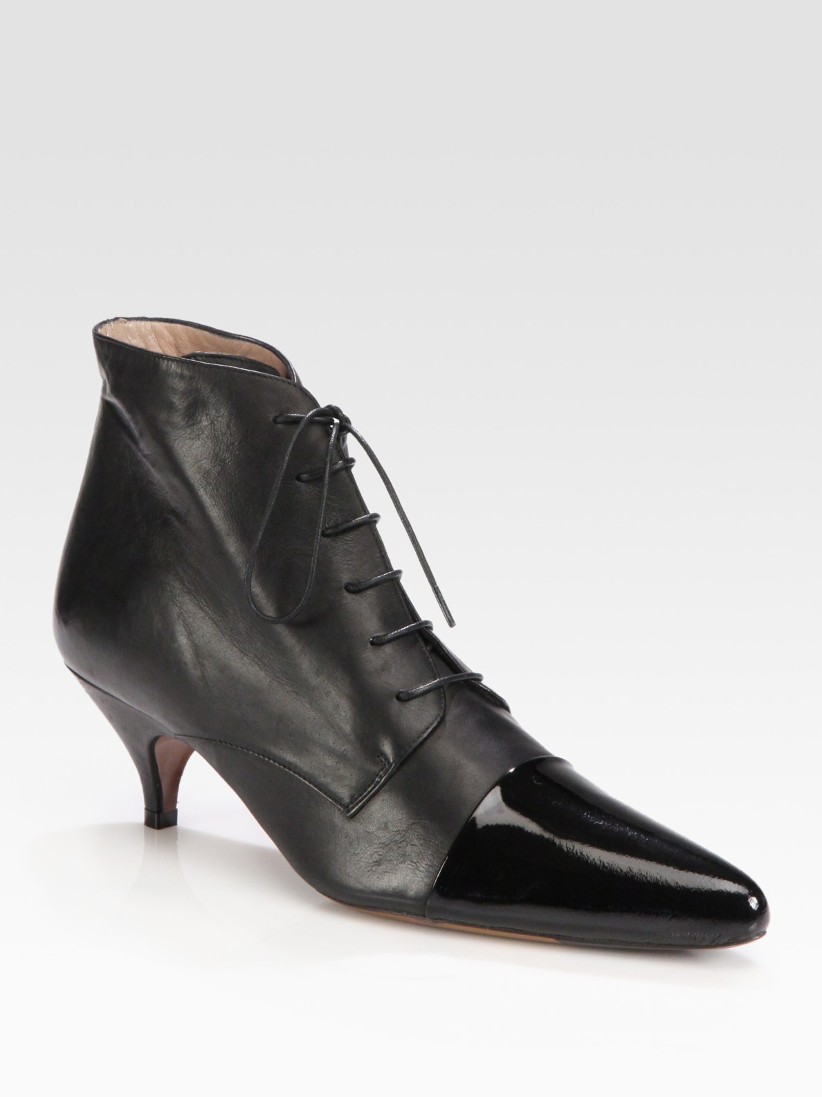 336f2b8692f Lyst - Rochas Lace-up Leather Point Toe Ankle Boots in Black