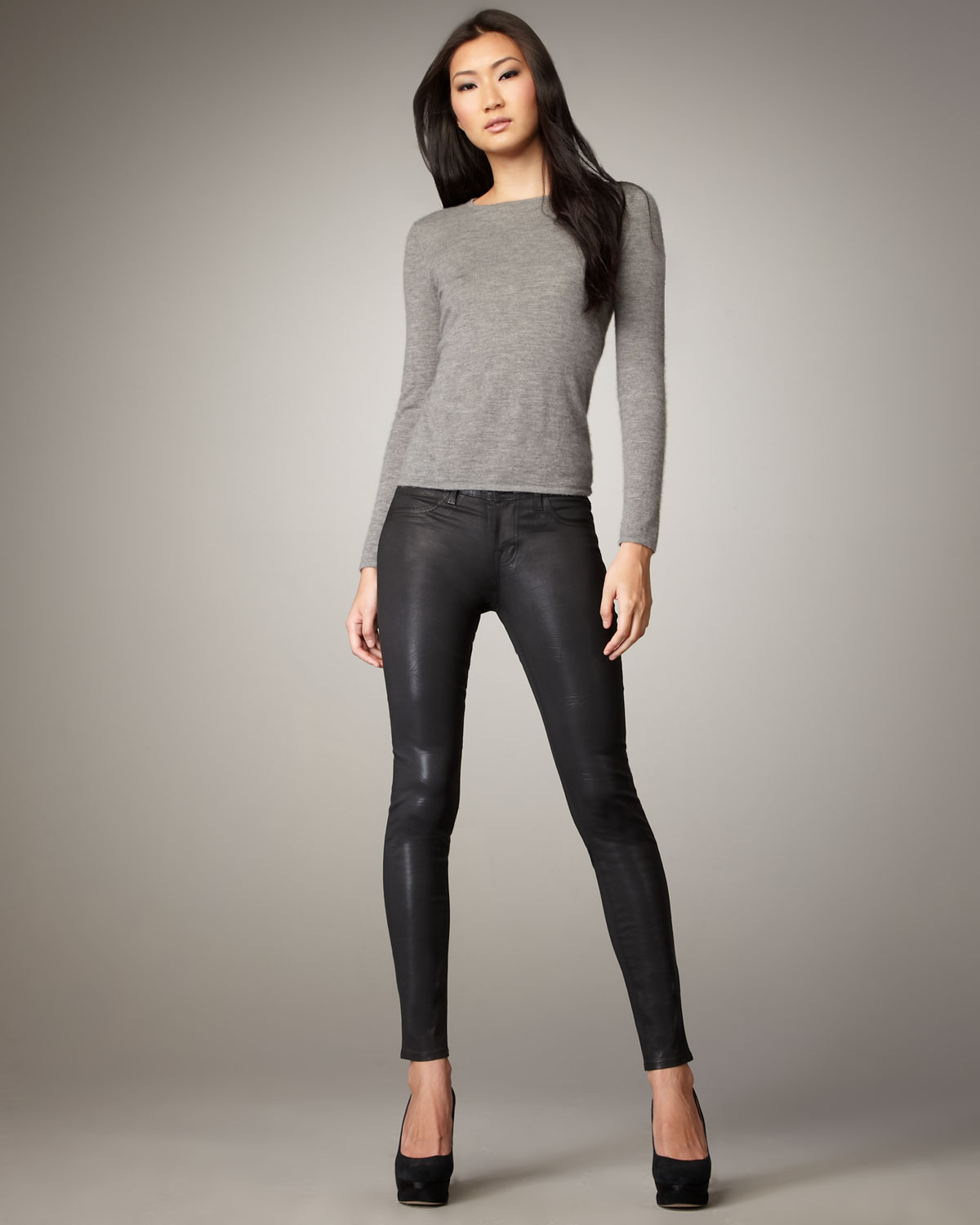 Lyst - J Brand Faux-leather Pants in Black