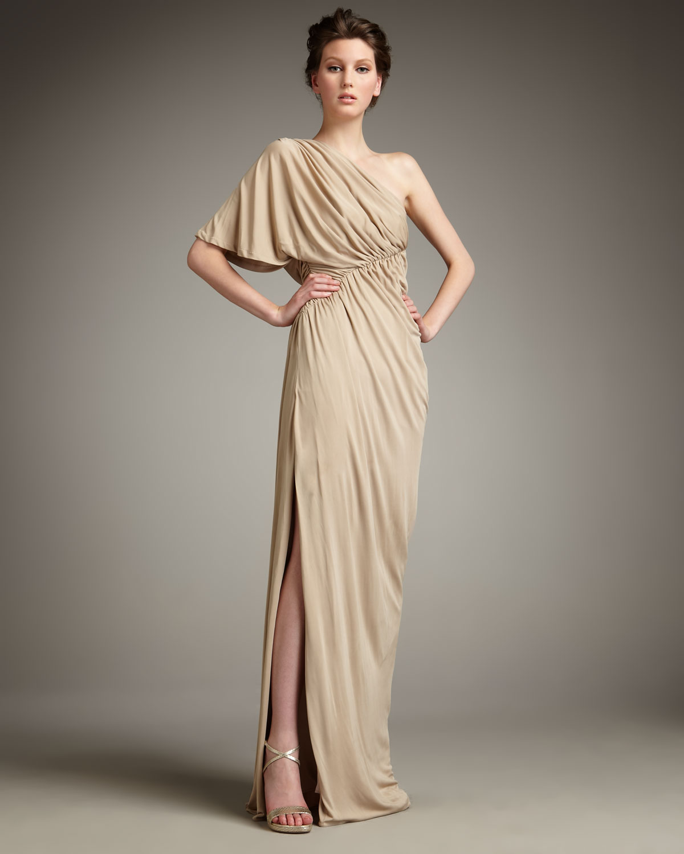 Lyst - Robert Rodriguez Hannah Drape-shoulder Gown in Natural