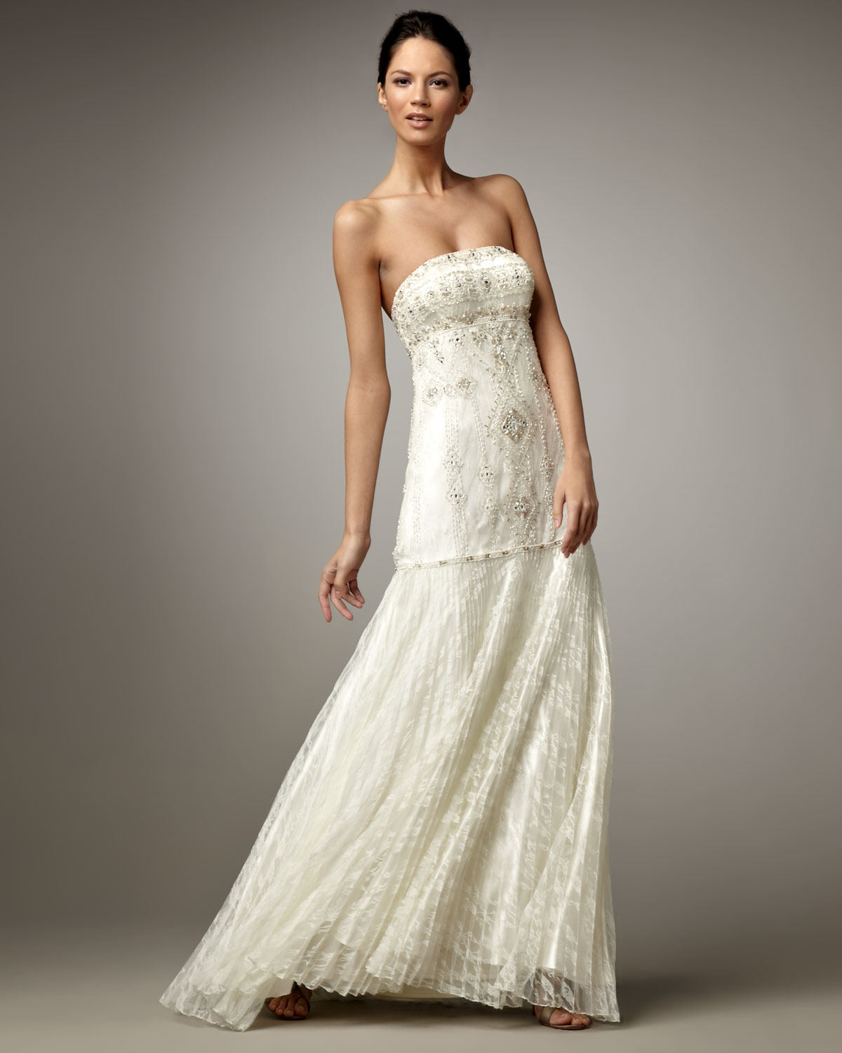 Sue Wong Beaded Drop-waist Gown In White