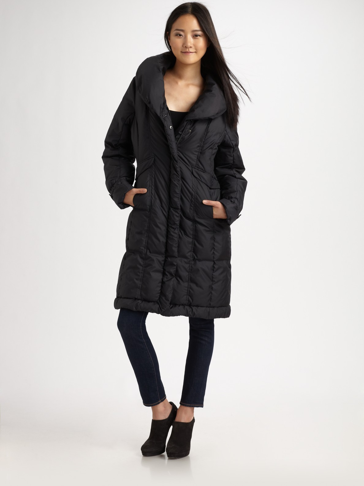 Cole Haan Quilted Puffer Coat In Black Lyst
