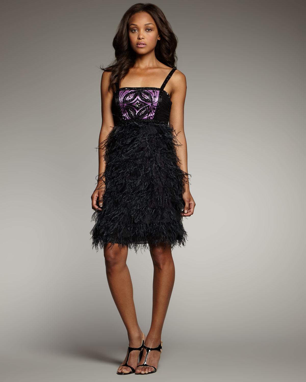Feather skirt dress black