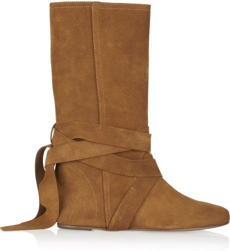 michael kors suede boots in brown camel lyst