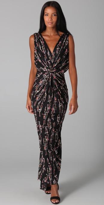 Lyst T Bags Twist Front Maxi Dress In Black