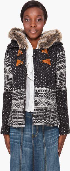 Smythe Fair Isle Hooded Jacket In Gray Grey Lyst