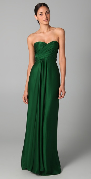 Lyst Reem Acra Strapless Ruched Gown In Green